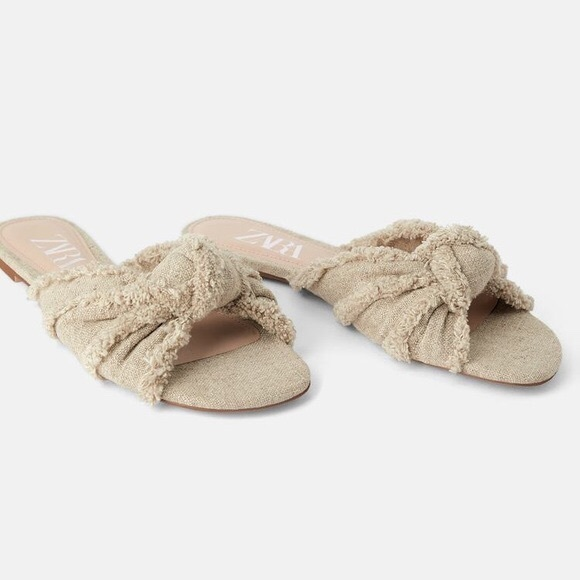 Zara Fringed Flat Sandals with Knot
